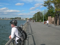 Enjoying the view from the bike path along the Hudson River
